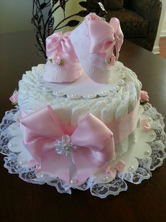 One Tier Pink And White Diaper Cake / Baby Shower Centerpiece / Diaper Cakes / Elegant Diaper Cakes / Baby Shower Gift: