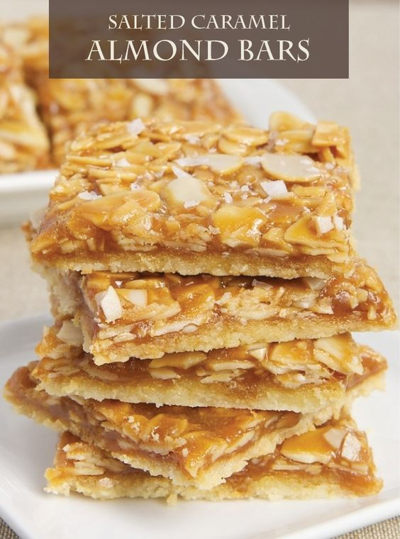 Salted Caramel Almond Bars are a great way to enjoy salted caramel.  Bake this delicious recipe and see! They're beautiful and make a great gift for the holidays.
