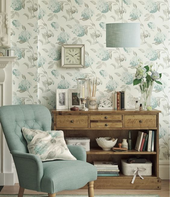 Diy guide wallpapering laura ashley floral wallpapers for Duck egg living room ideas