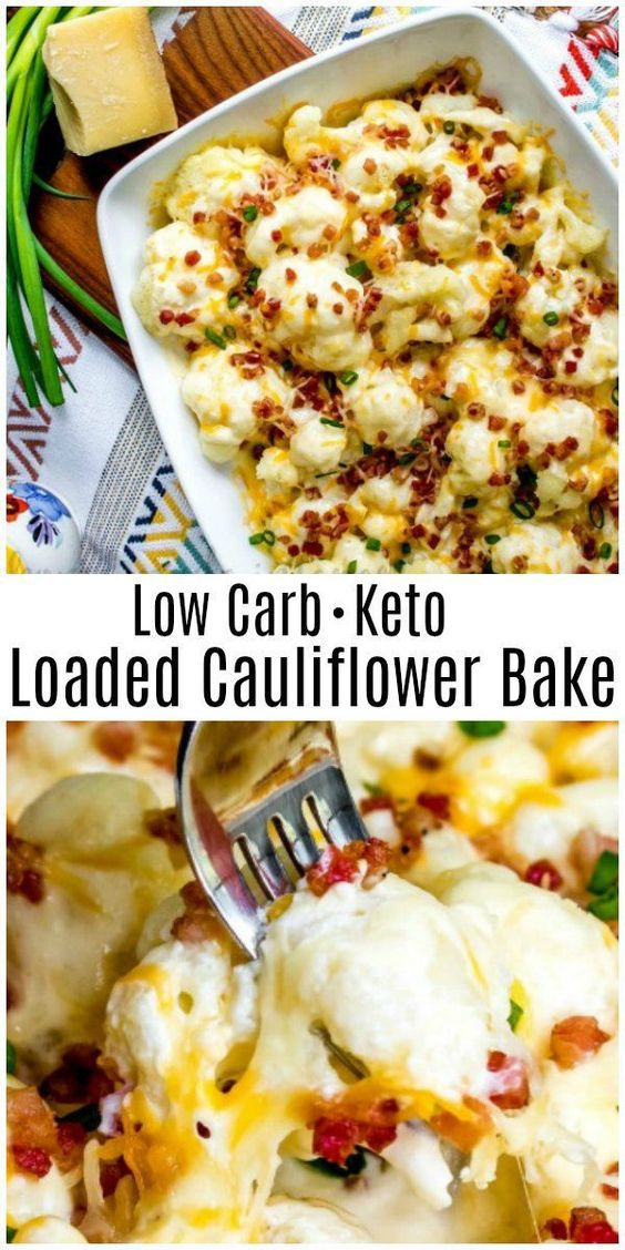 This Low Carb Loaded Cauliflower Bake is a keto casserole recipe that is a cheesy side for weeknight dinners and an easy low carb side dish for Thanksgiving and Christmas. #cauliflower #lowcarb #lowcarbdiet #keto #ketodiet #Thanksgiving #christmas #sidedish #homemadeinterest