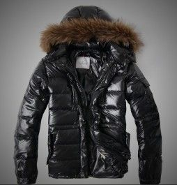 Luxury Moncler Rod Men Down Quileted Black Jackets Removable Fur Ruff ...