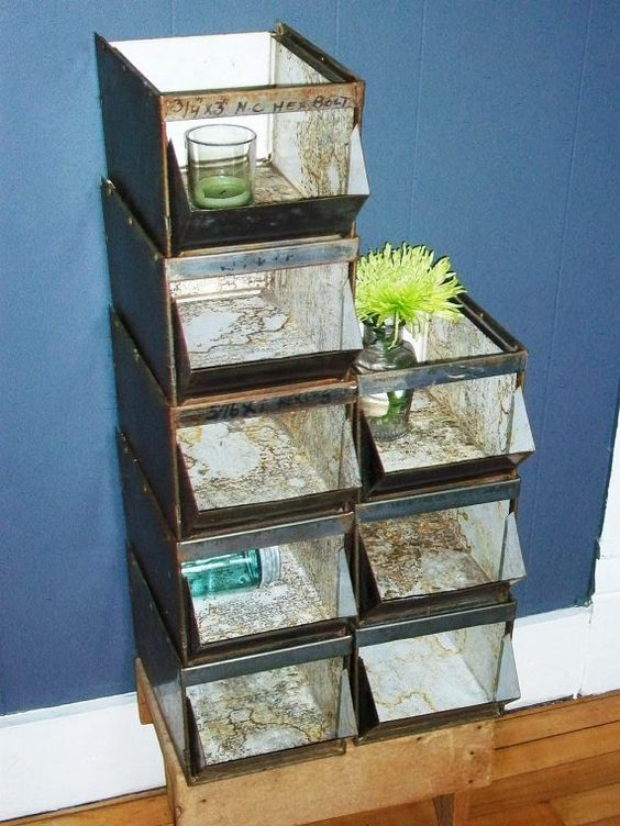 Vintage Metal Parts Bins Storage Bins 1940s by RedRiverAntiques, $28.00