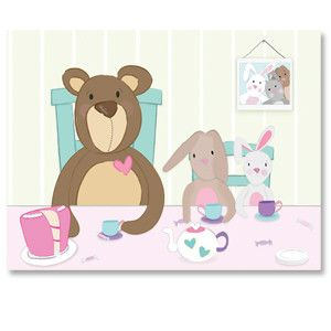 Animal Tea Party nursery kids canvas art | Bunny Hip and Hop have invited you and Teddy to a lovely tea party. There's tea (of course) candy and cake so bring your sweet tooth!
