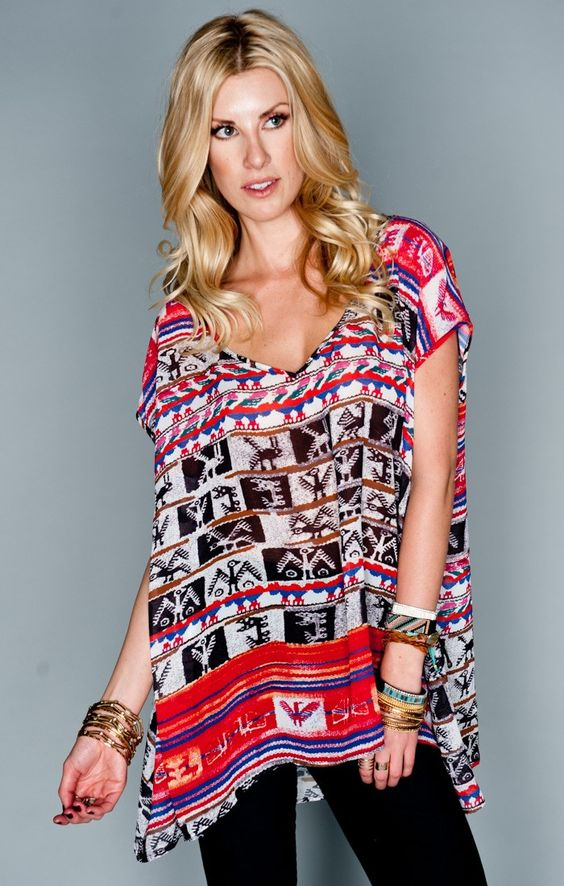 The Soaree Tunic is as comfortable as your favorite oversized t-shirt but the pretty patterns and flattering fit make this top versatile enough for almost every occasion. Throw on cutoffs or bri lacey shorts for the day or pair with your favorite bam bam bells for a night on the town.   *MADE IN THE GORGE USA* *I Come in Three Sizes: S, M, L *100% Poly Chiffon *Due to nature of print, the placement on each piece will vary *Basically Wrinkle-proof.  Throw in purse for later recommended  Jade…