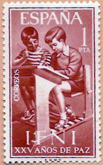 Sello Ifni de 1 peseta, XXV Años de Paz, 1964 - Portal Fuenterrebollo