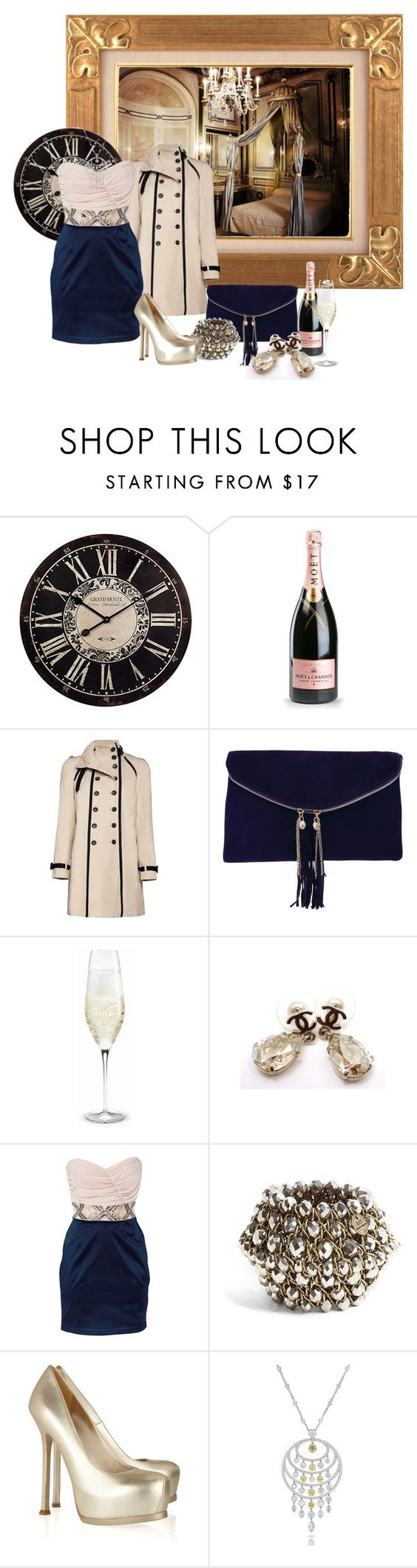 """""""FWF #58-Hotel Clock"""" by colleenscdmr ❤ liked on Polyvore featuring WALL, MoÃ«t & Chandon, MANGO, Rare London, Holmegaard, Chanel, Elise Ryan, DAY Birger et Mikkelsen and Yves Saint Laurent"""