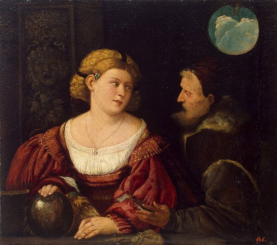 Seduction (Old Man and a Young Woman) ,   1515/1516   Cariani (Giovanni Busi):