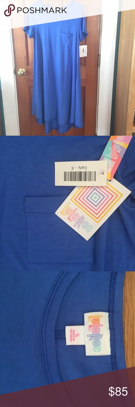 NWT Lularoe blue Carly. Size S. Hard to find size small solid bright blue Carly dress. Longer in the back. Very cute baby doll dress which can also be worn with leggings for fall/ winter. I was skeptical when I first saw the pictures but these look amazing on and can be worn many different ways. I will likely keep this if I can't recoup close to what I paid. LuLaRoe Dresses