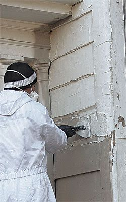 Paint Pro Tip: Paint in the right order. Home with MINOR Peeling: 1. Remove the shutters and screens. 2. Wash the exterior, shutters, and screens. 3. Scrape all loose paint and glazing putty. 4. Replace any rotten wood. 5. Sand all scraped areas. 6. Spot-prime all bare wood. 7. Apply caulk and glazing putty where needed. 8. Brush all overhangs and high trim. 9. Paint all siding. 10. Paint the windows, doors, and trim. 11. Paint the porch floors. 12. Hang the shutters and screens.