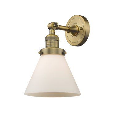 Beachcrest Home Louroukina Glass Cone Wall 1 Light Armed Sconce Shade Color Matte White Cased Size 10 H X 8 W Base Color Brushed Brass Sconces Wall Sconce Lighting Vintage Led Bulbs