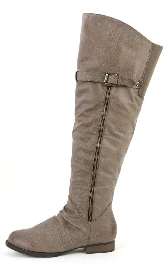 Westy-2 Buckle Leatherette Riding Boots TAUPE