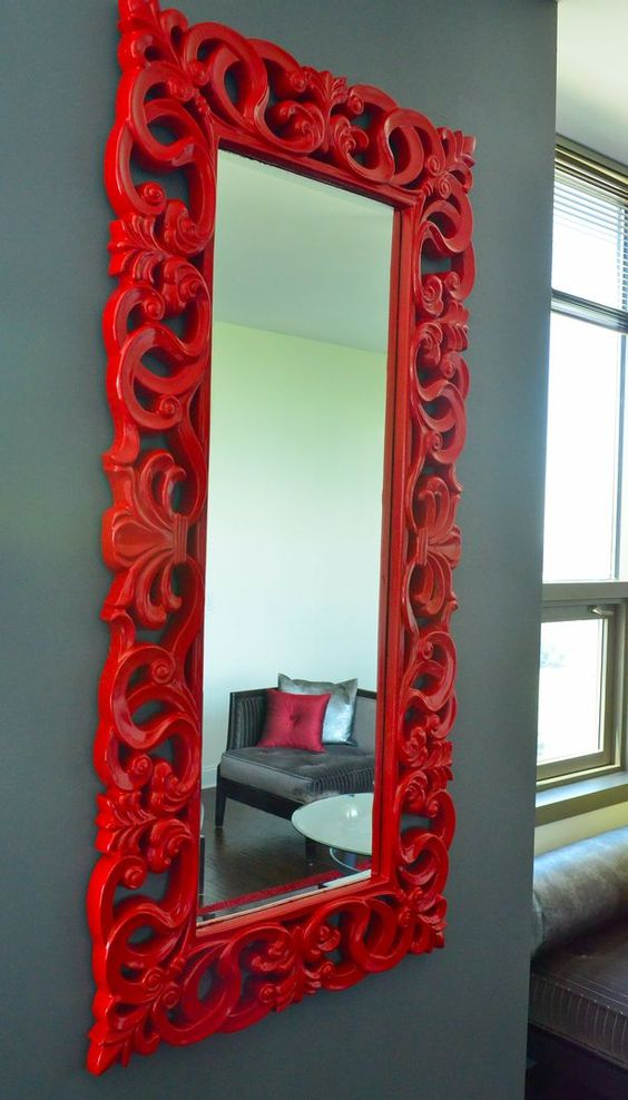 Red mirror, grey wall. Try Steel Hook #grey from #RoyalAcademy http://www.colourandpaint.com/all-paint/royal-academy-steel-hook.html