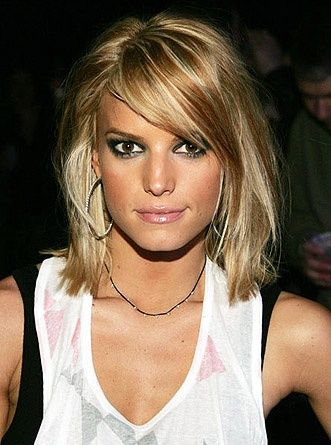 Jessica Simpson's long bob with bangs. Cute color too!