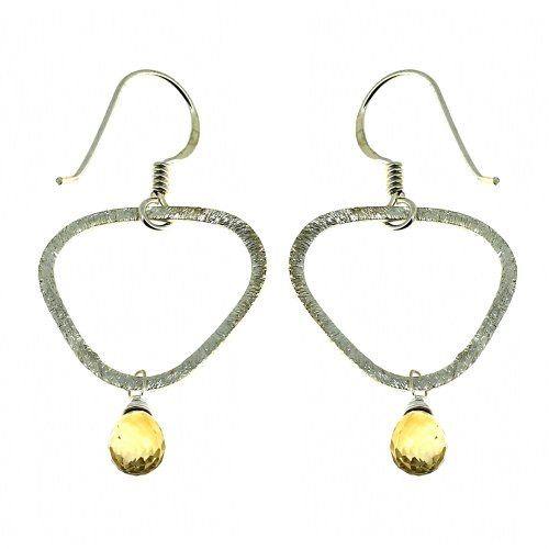 Drop-Earrings Citrine Gemstone Jewelry 1.75 inches
