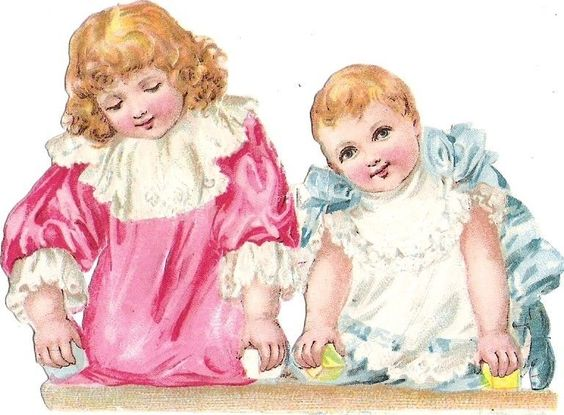 Oblaten Glanzbild scrap die cut chromo Kind child girl Baby Mädchen: