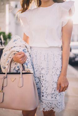Lace and Prada Bag