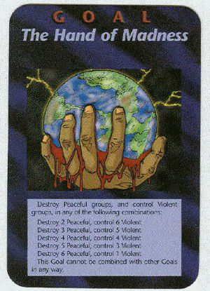 Illuminati card game, the hand of madness