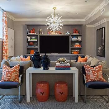 Navy and Orange Basement Family Rooms PERFECT colors, kids side royal blue
