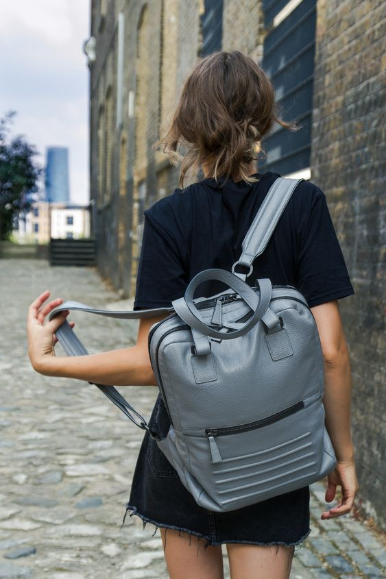 Unisex light grey leather backpack - rucksack. For woman and men. By Bagology London