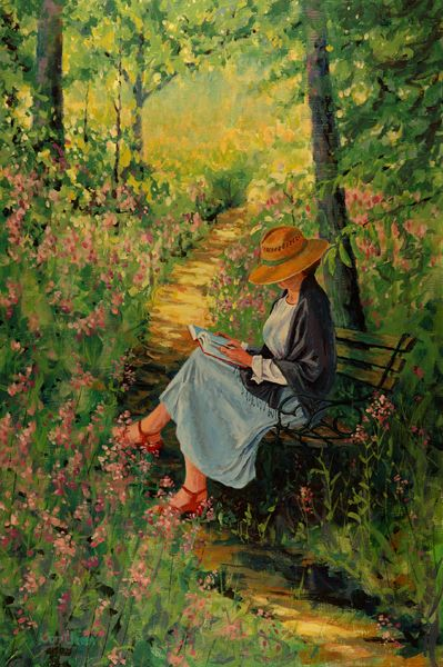 Woman reading in garden - artist Jon Uban .. http://www.jonuban.com/paintings.html: