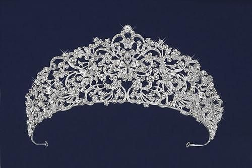 RHINESTONE TIARA Silver Floating Crystals Wedding Prom Party STUNNING!