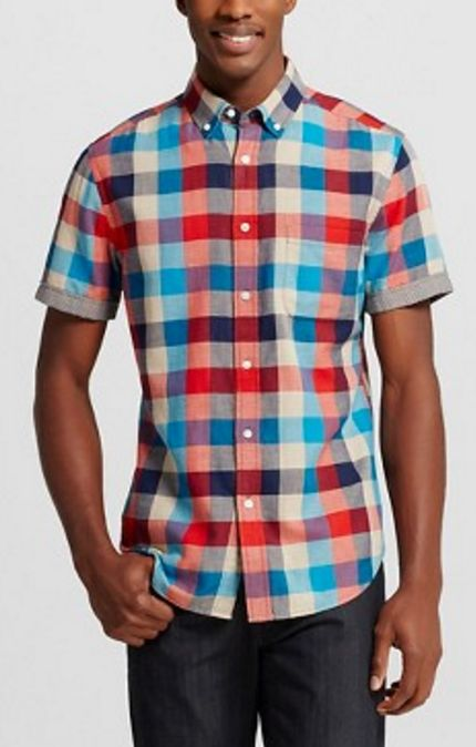 Men's Checkered Short-Sleeve Shirt
