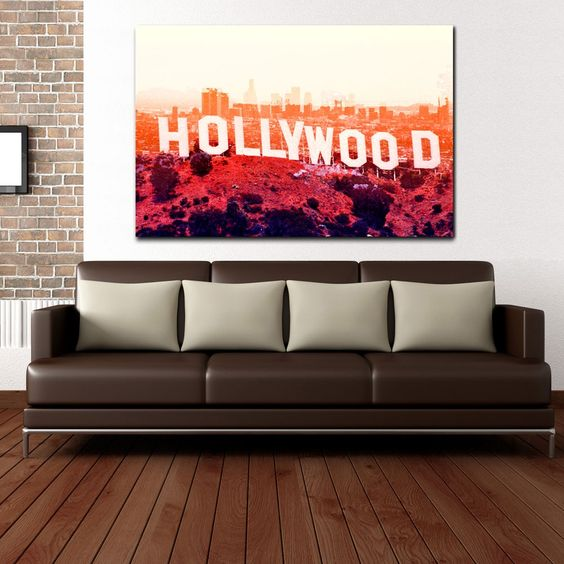 Colorful Hollywood Canvas on a Wooden Frame....ready to hang up.