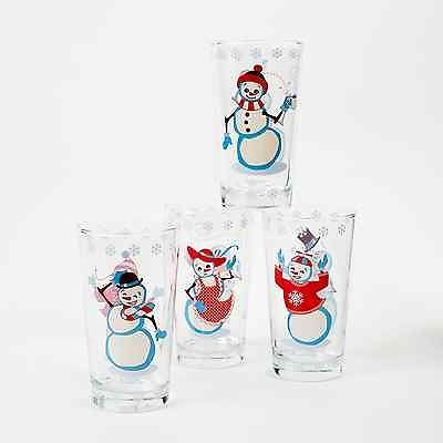 SNOWMAN Drinking Glasses Set of 4 Vintage-Style 1950's art Christmas NEW