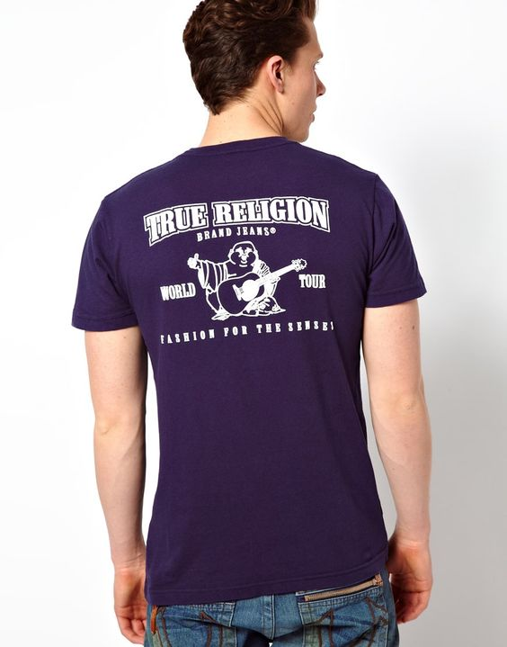 T-Shirt von True Religion aus Baumwolle weiches Jersey Aufdruck auf Brust und Rückseite normale Passform