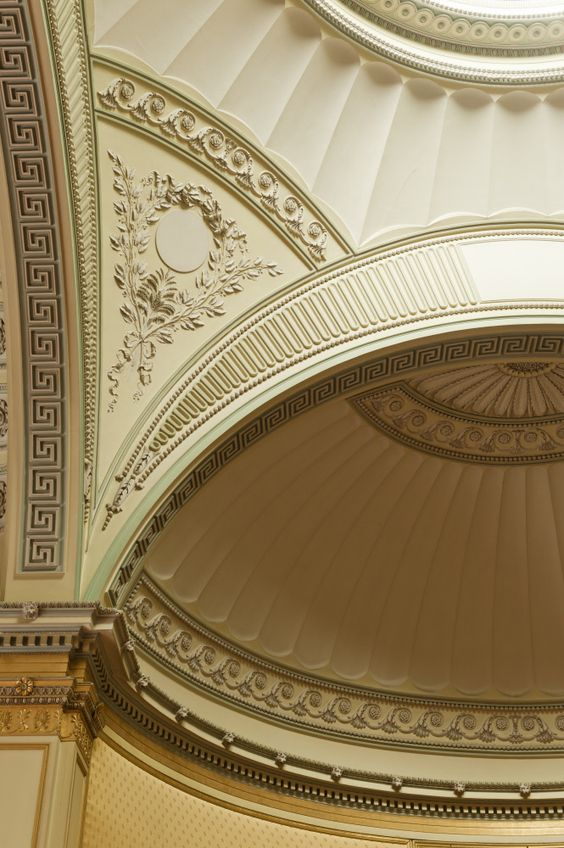Detail of the pendentive dome in The Yellow Drawing Room at Wimpole Hall in Cambridgeshire by Sir John Soane