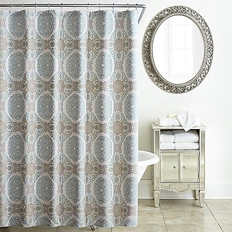 Waterford Reg Jonet Shower Curtain In Cream Aqua Shower Curtain