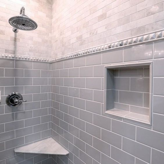The perfect grey subway tile imperial ice grey gloss for Grey subway tile shower