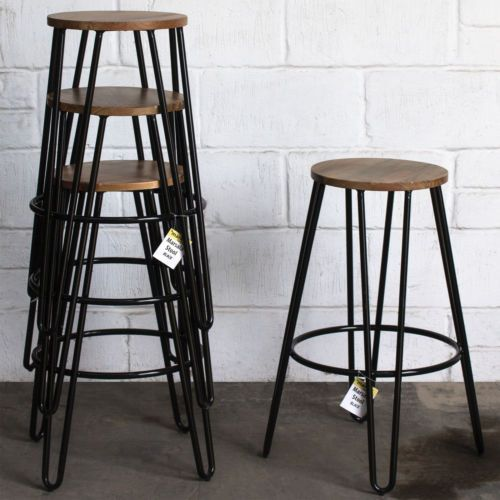 Admirable Details About Bar Stool Metal Hairpin Legs Round Light Wood Gmtry Best Dining Table And Chair Ideas Images Gmtryco