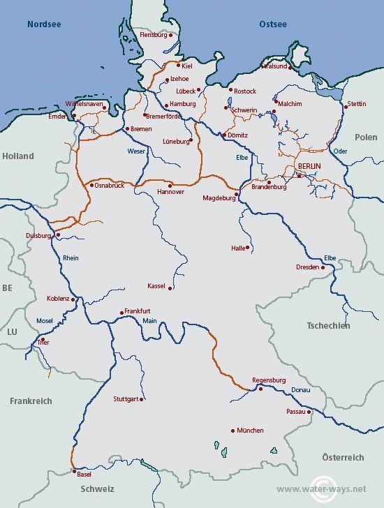 deutschland karte gewässer Waters in Germany | water ways.net: All information for