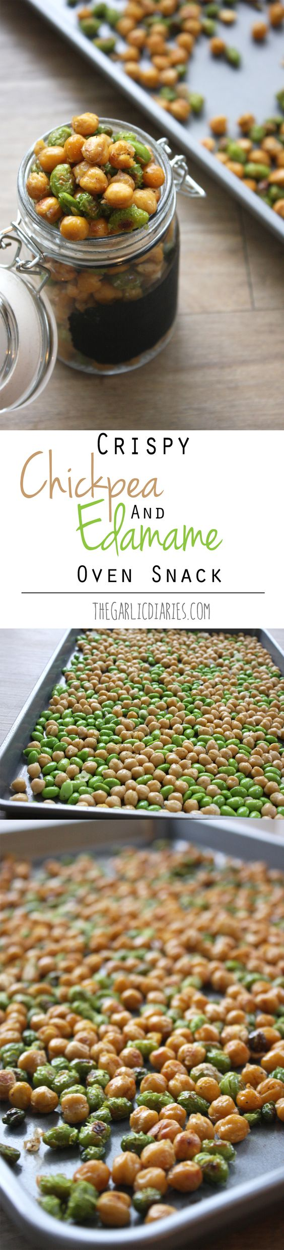 Crispy Chickpea and Edamame Oven Snack TheGarlicDiaries.com                                                                                                                            More