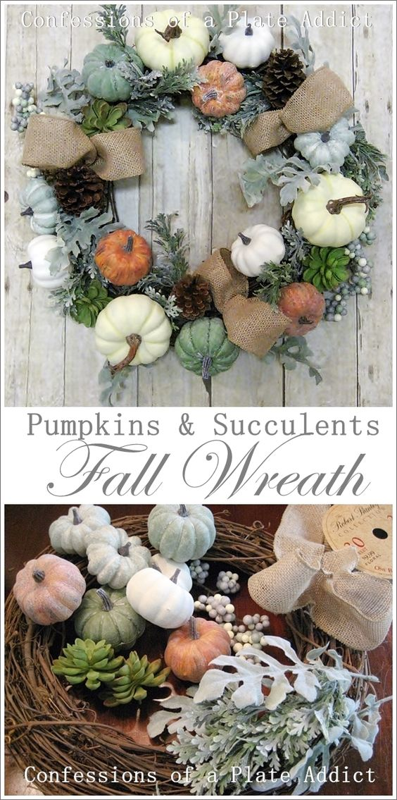 CONFESSIONS OF A PLATE ADDICT: Easy Pumpkins and Succulents Fall Wreath