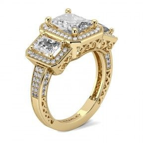 Golden Sterling Silver 1.50 CT. Emerald Cut White CZ Cubic Zirconia 3 Stone Ring
