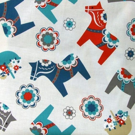 Traditional Scandinavian horse fabric