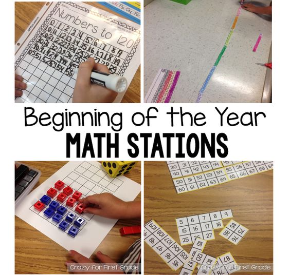 Beginning of the Year Math Stations in First Grade. I can adjust it for my second graders
