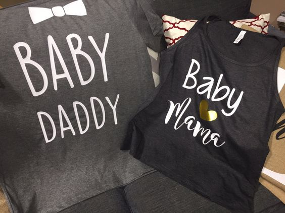 Baby Mama-Baby Daddy- Gender Reveal party shirts-Matching-boy- Girl-baby shower-mom-dad-new baby-baby bump-mom & dad shirts by CustomOutfittersNB on Etsy