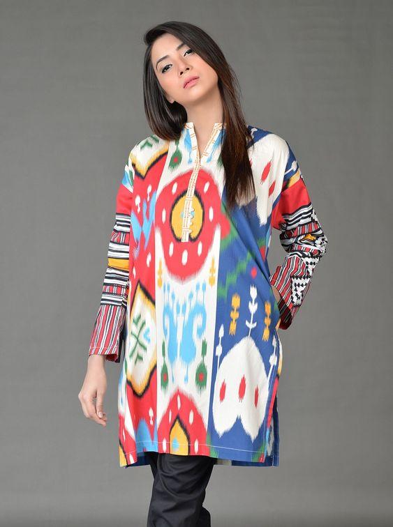 Stitching Styles Of Pakistani Dresses Digital printed Tunic