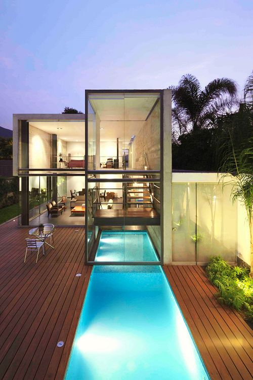 House modern glass and container pool on pinterest - Outdoor house pools ...