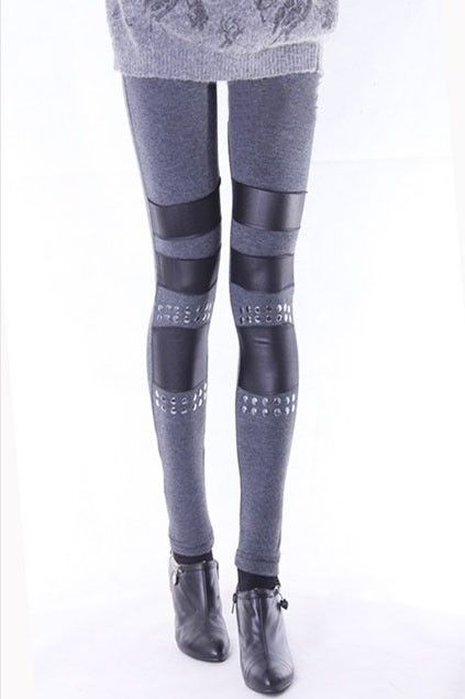 In love with these #Oasap Riveted Leggings: Fashion, Legs Rivets, Riveted Leggings, Oasap Riveted, Embellishment, Pu Featuring, Contrast Pu