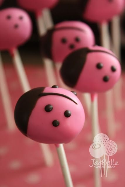 Pink Lady bugs cake pops. So have to make these one day!!! What a cute shower/ birthday idea for a girl!!: Ladybug Pops, Cake Ball, Ladybug Cake Pops, Ladybug Cakes, Ladybug Cakepops, Pop Cake, Pop Idea