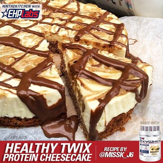 """Who said eating well had to be boring? Try this Healthy Twix Protein Cheesecake! Get #InTheKitchen w/ @EHPlabs! - INGREDIENTS BISCUIT LAYER: • 1/2c…"""