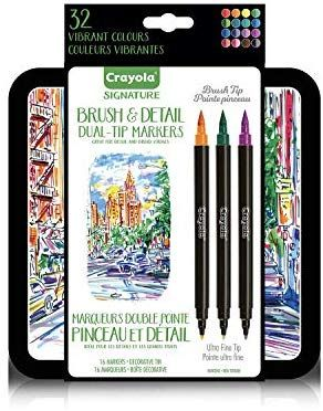 Amazon Com Crayola Brush Markers Dual Tip With Ultra Fine