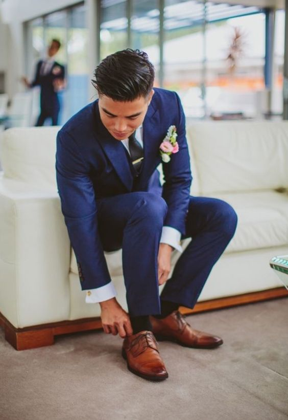 navy with brown shoes