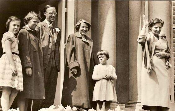 TRH Princess Margriet, Princess Irene, Prince Bernhard, Princess Beatrix, Princess Christina and Queen Juliana of the Netherlands