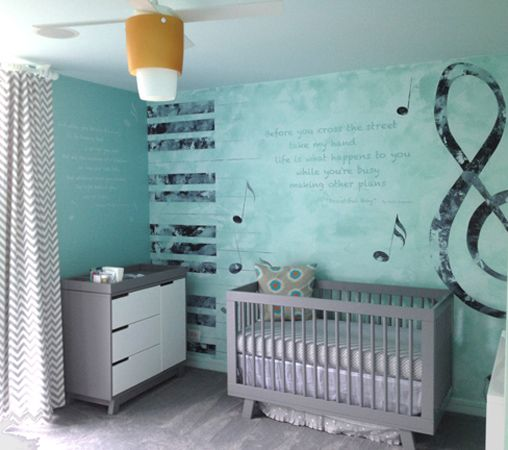 Nursery With Music Theme Mural | Nursery Room Boy, Baby Music Nursery, Modern Baby Room