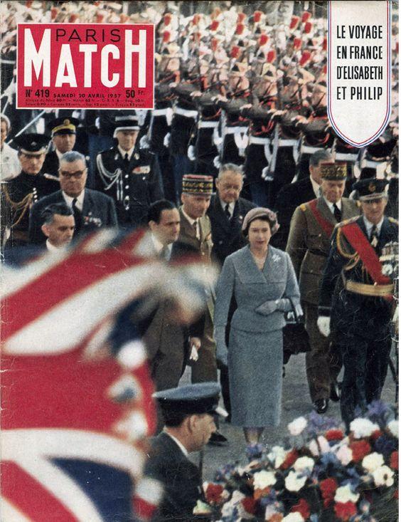 Premier voyage de la reine Elizabeth II en France en 1957. Le n°419 du 20 avril 1957 consacre pas moins de 55 pages à l'événement. Elle sont toutes reproduites dans le hors série iPad de Paris Match sur le jubilé de la Reine, disponible ici bit.ly/bsob15
